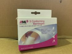 96 X BRAND NEW PACKS OF 5 CONFORMING BANDAGES (1059/8)