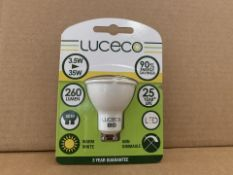 50 X BRAND NEW LUCECO 260 LUMEN 3.5W (35W) HU10 LIGHTBULBS (752/8)
