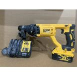 DEWALT DCH033 18V 4.0AH CORDLESS SDS PLUS DRILL WITH BATTERY & CHARGER. UNCHECKED