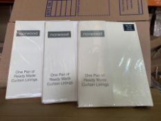 25 X BRAND NEW NORWOOD ONE PAIR OF READY MADE CURTAIN LININGS (521/8)