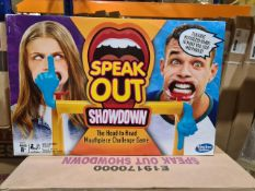 PALLET TO CONTAIN 60 x SPEAK OUT SHOWDOWN. THE HEAD TO HEAD MOUTH PIECE CHALLENGE GAME. RRP £30
