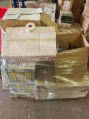 (Y1) PALLET TO CONTAIN A LARGE QTY OF VARIOUS ITEMS TO INCLUDE APPROX. 300 ROLLS OF SECURITY TAPE,