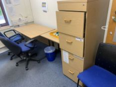 CONTENTS TO WAITING ROOM INCLUDING 2 X OFFICE CHAIRS FILING CABINET, WHITE BOARD AND 2 X DESKS (166)