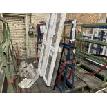 DOUBLE SIDED ACRA A FRAME WINDOW TROLLEY WITH WHEELS 245L X 170H X 120 WITH CONTENTS 3 X DOUBLE