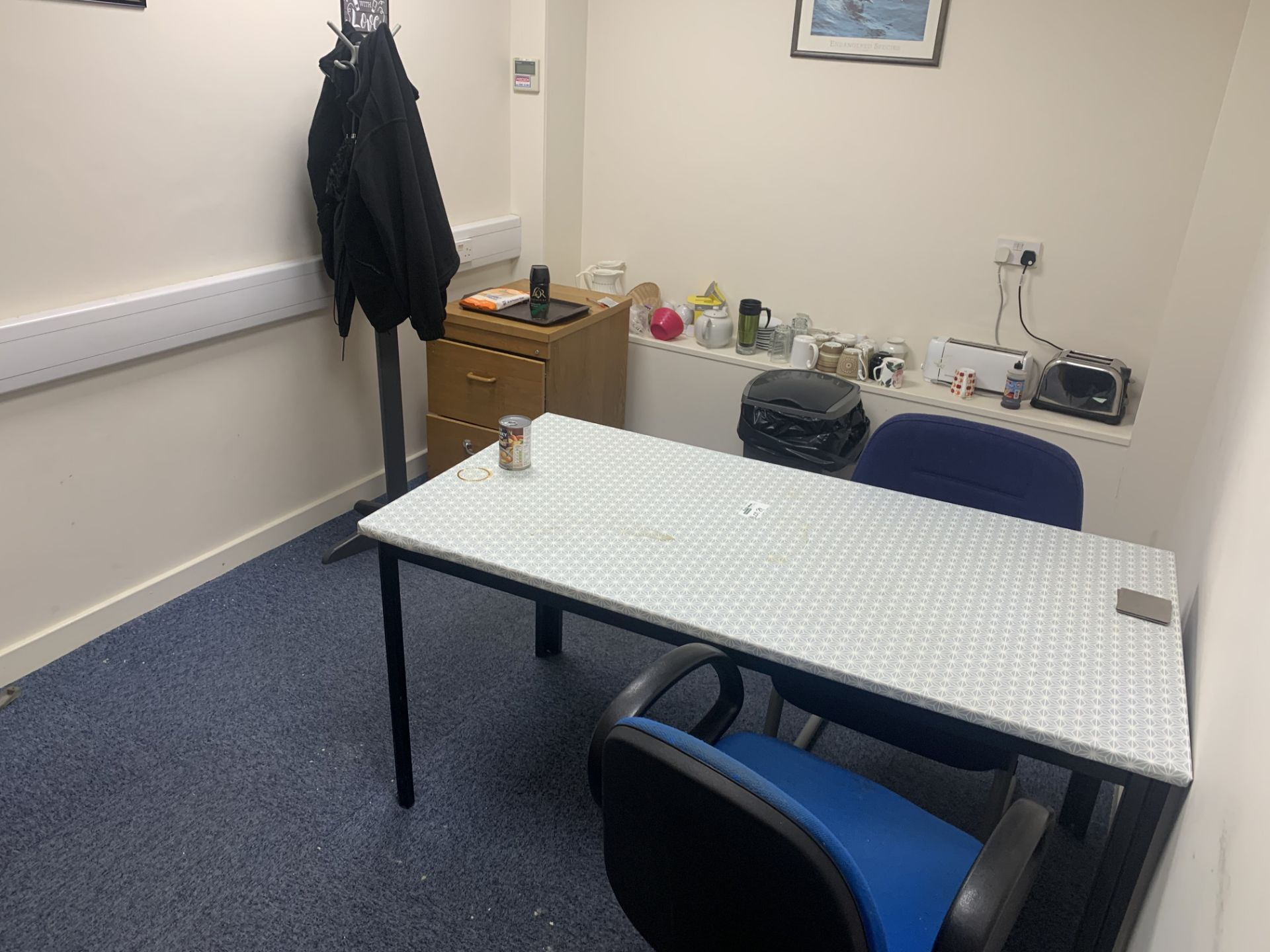 CONTENTS OF CANTEEN TO INCLUDE TOASTERS WATER DISPENSER, 2 CHAIRS, TABLE MUGS, 2 DRAWER CABINET,