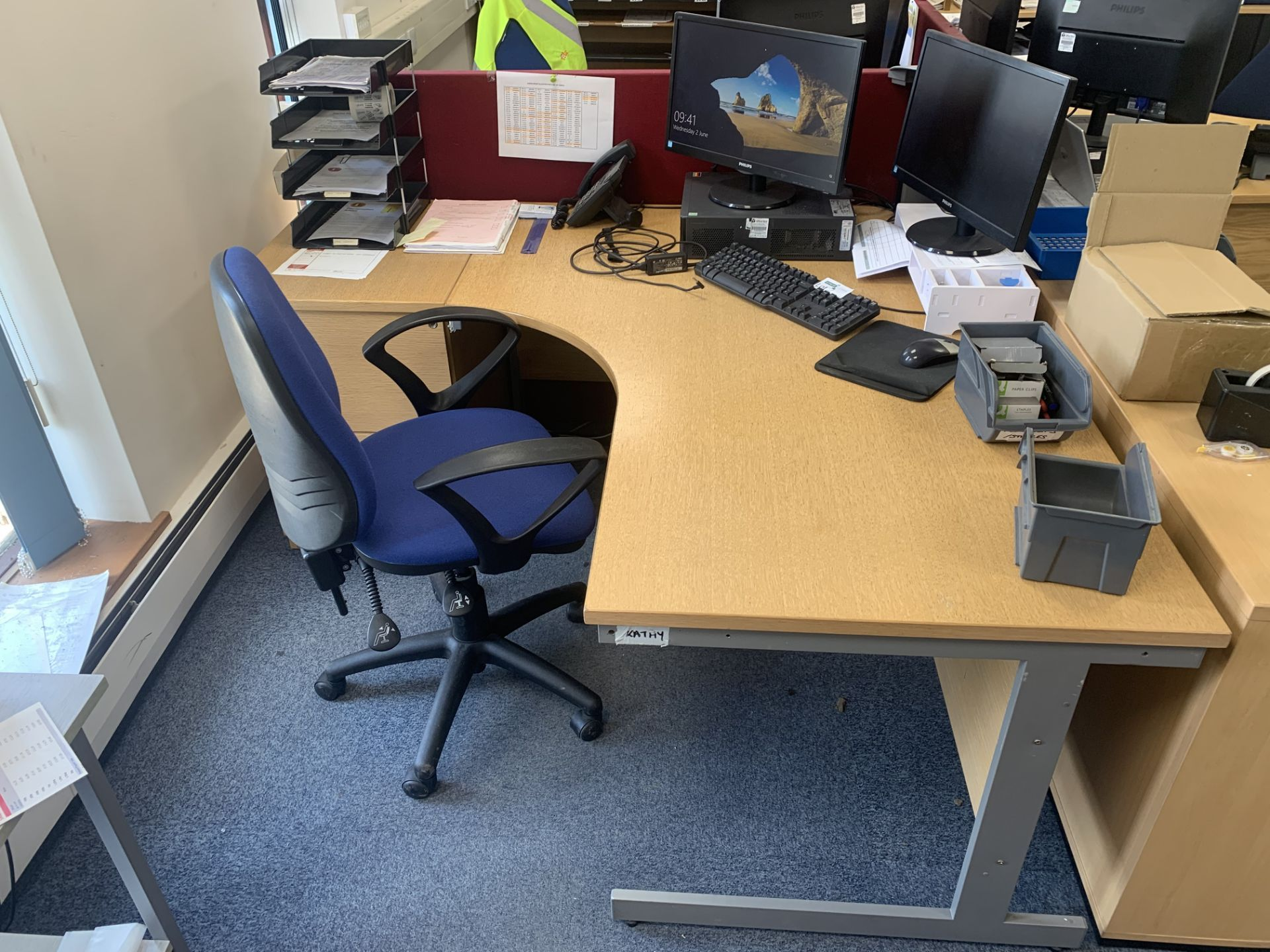 OFFICE DESK 160 X 120CM WITH CHAIR AND DRAWS (12)