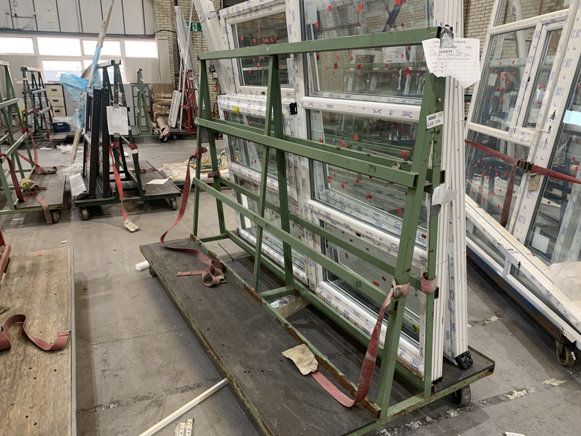 DOUBLE SIDED ACRA A FRAME WINDOW TROLLEY WITH WHEELS 245L X 170H X 120 WITH CONTENTS INCLUDING 4