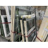 DOUBLE SIDED ACRA A FRAME WINDOW TROLLEY WITH WHEELS 245L X 170H X 120 WITH CONTENTS INCLUDING 10