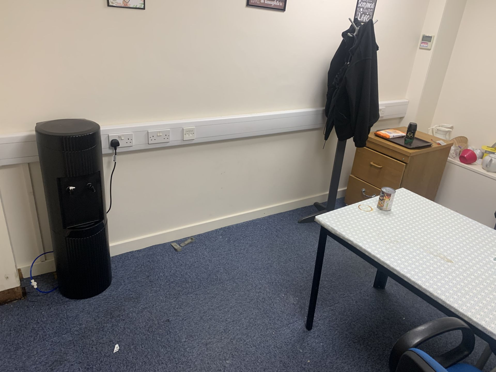 CONTENTS OF CANTEEN TO INCLUDE TOASTERS WATER DISPENSER, 2 CHAIRS, TABLE MUGS, 2 DRAWER CABINET, - Image 2 of 2
