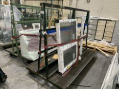 DOUBLE SIDED ACRA A FRAME WINDOW TROLLEY WITH WHEELS 245L X 170H X 120 WITH CONTENTS INCLUDING