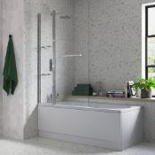 (SUP23) Two Panel Folding Bath Screen with Towel Rail & Shelves. RRP £234.00.