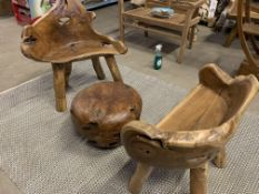 SOLID WOODEN TEAK ROOT SETS (TABLE AND 2 STOOLS) DIA 50 X H40 RRP £995
