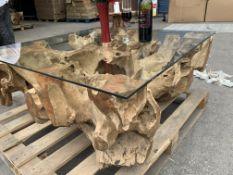 SOLID WOODEN TEAK ROOT SQAURE COFFEE TABLE WITH GLASS TOP L100 X W100 X H40 RRP £995