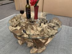 SOLID WOODEN TEAK ROOT ROUND COFFEE TABLE WITH GLASS TOP DIA 82 X H40 RRP £895