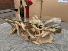 SOLID WOODEN RECTA TEAK ROOT COFFEE TABLE WITH 8MM GLASS L100 X W50 X H40 RRP £650