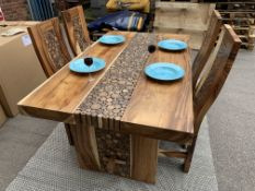 SUAR SOLID WOODEN COIN TABLE WITH 4 CHAIRS L 160 X W95 X H76 RRP £1495