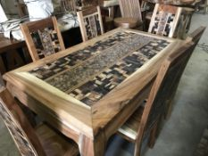SUAR SOLID WOODEN LENONG COIN TABLE WITH 6 CHAIRS L160 X W90 X H76 RRP £1695