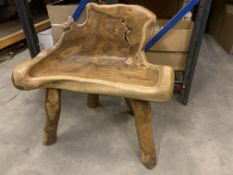 SOLID WOODEN TEAK ROOT 1 SEATER BENCH L80 X W50 X H80 RRP £325