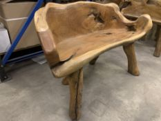 SOLID WOODEN TEAK ROOT 2 SEATER BENCH L120 X W50 X H90 RRP £595