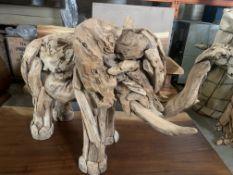 TEAK ROOT BABY ELEPHANT L80 X W30 X H55 RRP £350