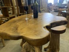 SOLID WOODEN TEAK ROOT BAR SET WITH 4 STOOLS L60 X W60 X H100 RRP £1995