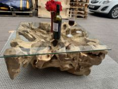 SOLID WOODEN TEAK ROOT SQUARE COFFEE TABLE WITH GLASS TOP L80 X W80 X H40 RRP £895