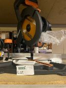 EVOLUTION R210CMS 210MM ELECTRIC SINGLE-BEVEL COMPOUND MITRE SAW 110V COMES WITH BOX (UNCHECKED)