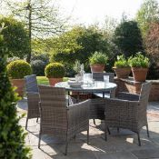 New Boxed - Luxe Olivia 4 Seater Rattan Round Dining Table & Chair Set. This brilliant set offers