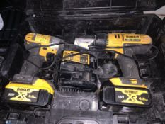 DEWALT DRILL AND IMPACT DRIVER TWIN SET COMES WITH 2 BATTERIES, CHARGER AND CARRY CASE (UNCHECKED)