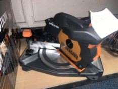 EVOLUTION R210CMS 210MM ELECTRIC SINGLE-BEVEL COMPOUND MITRE SAW 110V COMES WITH BOX (UNCHECKED) (