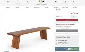 New Boxed - Cantilever Rustic Solid Oak Bench. 180cm Long. RRP £330. For a more open seating