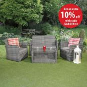 New Boxed - Luxe Olivia 4 Piece Rattan Sofa Set. Includes 2 Seater Sofa, 2 Armchairs & Coffee Table.
