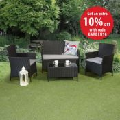 New Boxed - Luxe Jasmin 4 Piece Rattan Sofa Set. Includes 2 Seater Sofa, 2 Armchairs & Coffee Table.