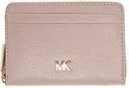 BRAND NEW MICHAEL KORS MONEY PIECES SOFT PINK ZIP AROUND COIN CARD CASE (8133) RRP £95 (305/27)