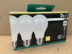 36 X BRAND NEW DIALL LED COOL WHITE 10.5W PACKS OF 3 LIGHTBULBS (201/27)