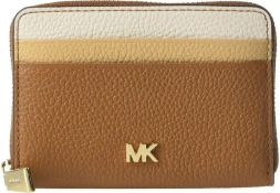 BRAND NEW MICHAEL KORS MONEY PIECES BROWN ZIP AROUND COIN CARD CASE (4374) RRP £95 (306/27)