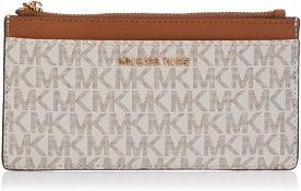 BRAND NEW MICHAEL KORS MONEY PIECES VANILLA/ACORN LARGE SLIM CARD CASE (3812) RRP £105 (302/27)
