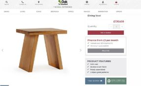 10 X NEW BOXED Natural Solid Oak Stool. RRP £130 EACH, TOTAL RRP £1,300. For a more open seating