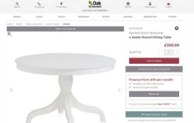 NEW BOXED Shaker Hardwood Painted Hardwood 4 Seater Dining Table. RRP £399.99.