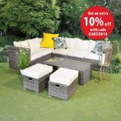 NEW BOXED - LuxeGracie 5 Piece Rattan Sofa Set with Footstools. The Gracie contemporary and
