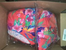 12 X BRAND NEW INDIVIDUALLY PACKAGED FIGLEAVES SUNSET RED BORA BORA UNDERWIRED SQUARE NECK SWIMSUITS