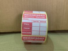 14 X 20000 X BRAND NEW WEDNESDAY PULL, THAW, DISCARD LABELS (16/3)