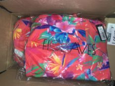 10 X BRAND NEW INDIVIDUALLY PACKAGED FIGLEAVES SUNSET RED BORA BORA UNDERWIRED SQUARE NECK SWIMSUITS