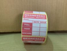 14 X 20000 X BRAND NEW WEDNESDAY PULL, THAW, DISCARD LABELS (15/3)