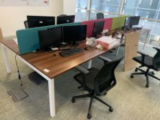 BAY OF 6 HIGH END OFFICE DESKS (CONTENTS NOT INCLUDED)