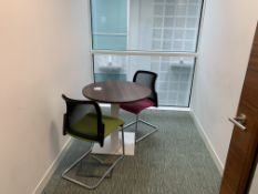 MEETING ROOM 1 INCLUDING ROUND SOLID WOOD TABLE WITH ELECTRICAL SOCKET AND 2 CHAIRS