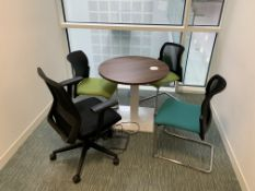 MEETING ROOM 1 INCLUDING ROUND SOLID WOOD TABLE WITH ELECTRICAL SOCKET AND 4 CHAIRS