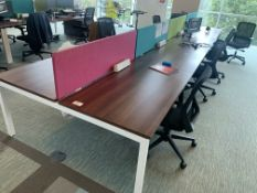 BAY OF 8 HIGH END OFFICE DESKS (CONTENTS NOT INCLUDED)