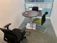 MEETING ROOM 1 INCLUDING ROUND SOLID WOOD TABLE WITH ELECTRICAL SOCKET AND 3 CHAIRS
