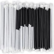 PALLET TO CONTAIN 50,000 x NEW SEALED BLACK INDIVIDUALY WRAPPED DRINKING STRAWS